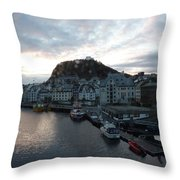Sunrise Above Aalesund Throw Pillow
