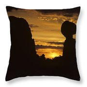 Sunrise Arches National Park With Balanced Rock Silhouetted Agai Throw Pillow