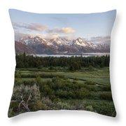 Sunrise At Grand Teton Throw Pillow