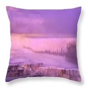 Sunrise At Minerva Springs Yellowstone National Park Throw Pillow