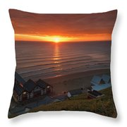 Sunrise At Saltburn Throw Pillow