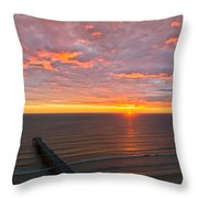 Sunrise At Saltburn Pier And Seafront Portrait Throw Pillow