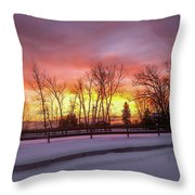 Sunrise At The Barn Throw Pillow