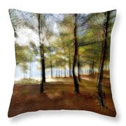 Sunrise At The Magic Forest Throw Pillow
