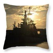 Sunrise At The Naval Base Silhouette Erie Basin Marina V3 Throw Pillow