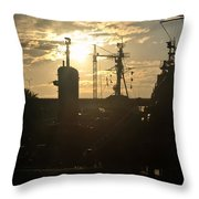 Sunrise At The Naval Base Silhouette Erie Basin Marina V4 Throw Pillow