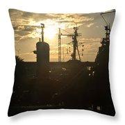 Sunrise At The Naval Base Silhouette Erie Basin Marina V4 Throw Pillow