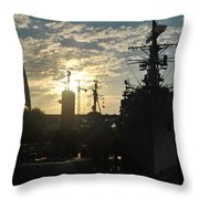 Sunrise At The Naval Base Silhouette Erie Basin Marina V5 Throw Pillow