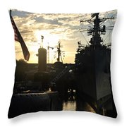 Sunrise At The Naval Base Silhouette Erie Basin Marina V6 Throw Pillow