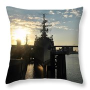 Sunrise At The Naval Base Silhouette Erie Basin Marina V7 Throw Pillow