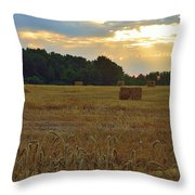 Sunrise At The Wheat Field Throw Pillow