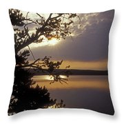 Sunrise At Yellowstone Lake Throw Pillow