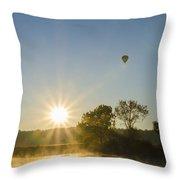 Sunrise Balloon Ride Over Lake Nockamixon Throw Pillow