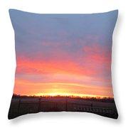 Sunrise Between Farm Barns Throw Pillow