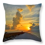 Sunrise Colors Over Navarre Beach With Stormclouds Throw Pillow