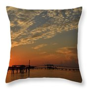 Sunrise Colors With Storms Building On Sound Throw Pillow