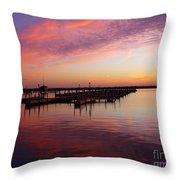 Sunrise Dock Over Lake Huron Throw Pillow