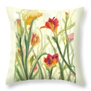 Sunrise Flowers Throw Pillow