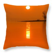 Sunrise Fog On Truman Lake With An Island Throw Pillow