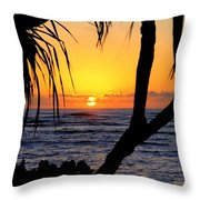 Sunrise Fuji Beach Kauai Throw Pillow