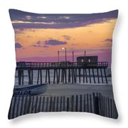 Sunrise In Avalon - 32nd Street Pier Throw Pillow