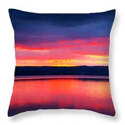 Sunrise In Cayuga Lake Ithaca New York Panoramic Photography Throw Pillow