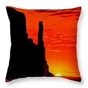 Sunrise In Monument Valley Throw Pillow