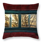 Sunrise In Old Barn Window Throw Pillow