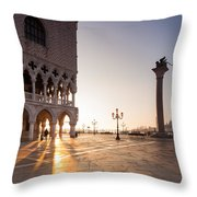 Sunrise In St Marks Square Venice Italy Throw Pillow