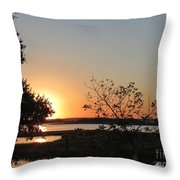 Sunrise Is Calling On Nc Waterway  Throw Pillow