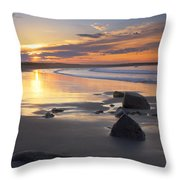 Sunrise On A Beach Near The Port Throw Pillow