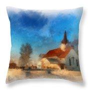Sunrise On A Rural Church 03 Throw Pillow