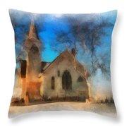 Sunrise On A Rural Church 04 Throw Pillow