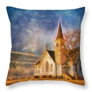 Sunrise On A Rural Church 13 Throw Pillow