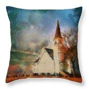 Sunrise On A Rural Church 18 Throw Pillow