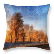 Sunrise On A Rural Country Road Photo Art 02 Throw Pillow