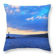 Sunrise On Cayuga Lake Ithaca New York Panoramic Photography Throw Pillow