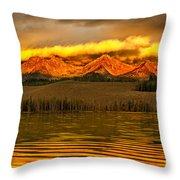 Sunrise On Little Redfish Lake Throw Pillow