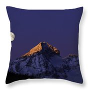 Sunrise On Piz Julier Switzerland With Moon Throw Pillow