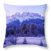 Sunrise On Snowy Mountain Throw Pillow