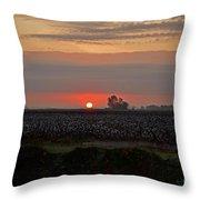 Sunrise On The Cotton Field Throw Pillow