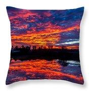 Sunrise On The Fishing Hole Throw Pillow