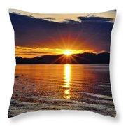 Sunrise On Yellowstone Lake Throw Pillow