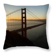 Sunrise Over Golden Gate Bridge And San Francisco Bay Throw Pillow