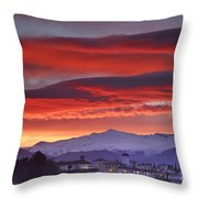 Sunrise Over Granada And The Alhambra Castle Throw Pillow