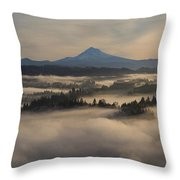 Sunrise Over Mount Hood And Sandy River Throw Pillow