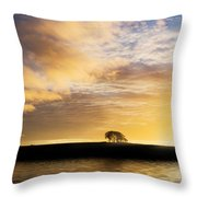 Sunrise Over Silouette Landscape Throw Pillow