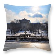 Sunrise Over The Art Museum In Winter Throw Pillow