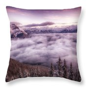 Sunrise Over The Canadian Rockies Throw Pillow