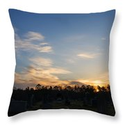 Sunrise Over The Cemetary Throw Pillow